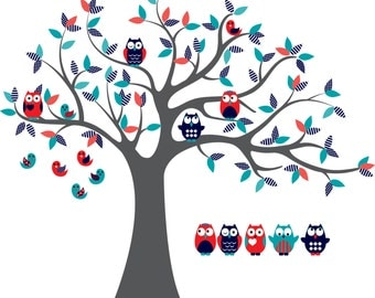 children wall decal for nursery- tree wall decal- Owl tree- Vinyl tree- 5 Free owls
