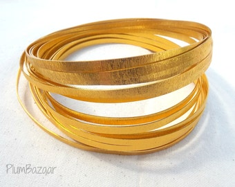 Embossed  aluminum craft wire, 5 mm flat,16 foot coil, bright gold color