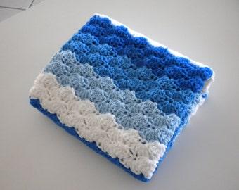 Baby Blanket Crochet Blue  White  Stroller Carriage Car Size 30 X 27 Handmade