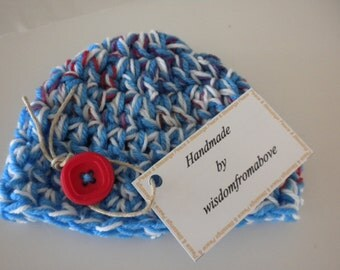Baby Hat Crochet Thick Newborn Photography Prop Multi Color Red White and Blue with Large button