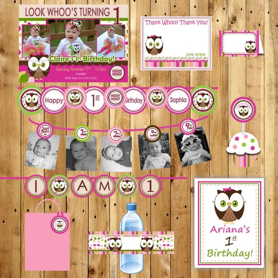 CUSTOM Printable Package Personalized -1st Year Birthday Party Package - Girl or Boy   Pick Your Own Theme (Printable DIY) Digital Files