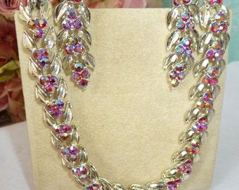 Vintage Necklace And Earrings Coro Elegant RED AURORA BOREALIS Spellbinding Brilliant Rare Vintage Jewelry By Vintagelady7