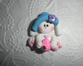Polymer Clay Easter Bunny - Cute Little Easter Bunny Holding an Easter Egg and Wearing a Hat Bow Center/Pin/Magnet/Gift