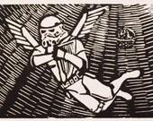 All Troopers Go To Heaven - Stormtrooper Linocut (Woodcut ish) Print - Wars Star