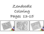 Coloring Pages to Print Zentangle Inspired Printables Pages 13-15