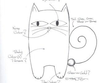 Custom Tail Cat Pin Custom Cat Brooch Handmade Ceramic by Sean Brown