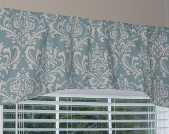"Premier Prints Arch Shaped Damask Valance 52"" wide x 19"" long Lined with Cotton Muslin black white village blue gray grey yellow brown"