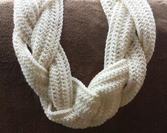 Crochet Braid Infinity Scarf Cowl Off-White Women's Accessories Winter Wear Made To Order - Aran