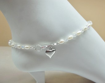 White Pearl Ankle Bracelet Clear Crystal Ankle Bracelet Silver Heart Anklet With Swarovski Elements 100% 925 Sterling BuyAny3+Get1Free