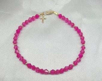 14k Gold Cross Bracelet Hot Pink Bracelet Fuschia Crystal Bracelet Solid 14k Gold or 14k Gold Filled Stamped GF 1/20 BuyAny3+Get1Free