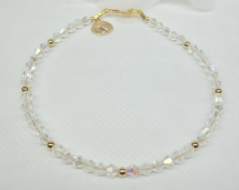 Gold Sand Dollar Anklet Sandollar Beach Wedding Jewelry Beach Anklet Clear AB Crystal Ankle Bracelet 14k Gold Filled Anklet BuyAny3+1 Free