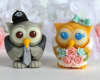 Wedding owl cake topper, love birds with bridal gown and groom suit, customizable
