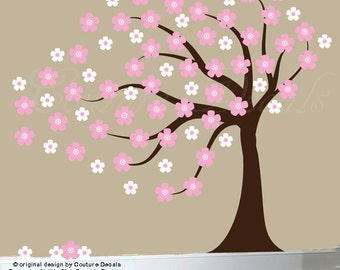 Childrens wall decal blowing cherry tree decal flower tree wall sticker white blowing tree decal - 0214