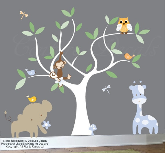 Vinyl wall decal jungle set white nursery tree decal wall decal animals - 0417