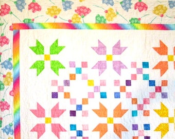 Tiptoe Through the Tulips I  Double Bed quilt 75in X 91in
