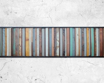 "Reclaimed Wood Art - ""Savannah"" - Reclaimed Wood Sculpture in Blues, Tans, and Browns - Modern Wood Wall Art- Abstract Wood Art"