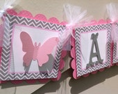 Summer Beauty Butterfly Banner Birthday Party Baby Shower Room Decor Garden Party Medium Pink and Grey Chevron