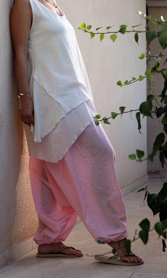 Women's harem skirt pants, Pink harem pants, Cotton harem pant, Maternity, Pregnancy, Yoga wear, Boho, Bohemian pants, Summer pants