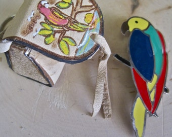 Parrot Keychain Souvenir Isla Margarita Hand Painted Leather Purse Parrot Enamel Brooch Bright Colors Venezuela Margarita Island Collectible