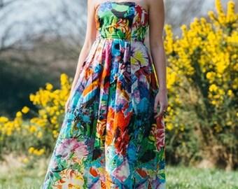 Black Tropical Strapless Maxi Dress