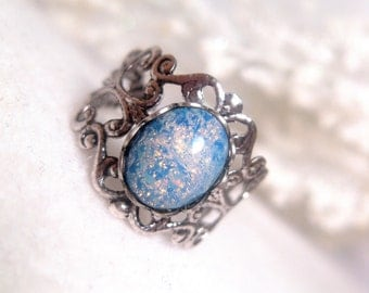 Blue Galaxy Opal Ring With Stardust Shimmer - Celestial - Metallic - Sparkly - Christmas Gift
