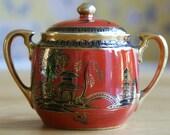 Noritake Komaru 1930s Miniature Sugar Pot/Sucrier Orange + Black Handpainted Oriental Bird Design with Real Gilding