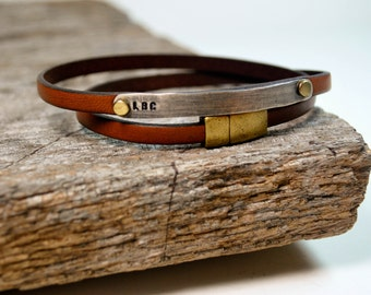 Leather Wrap Bracelet Personalized in Sterling Silver