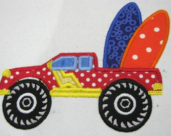 Monster Truck With Surfboards Machine Applique Embroidery Design - 5x7 & 6x8