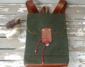Army Green Waxed Canvas  Backpack  with Adjustable Leather Strap Strap / School / Travel / Rucksack / Laptop Bag