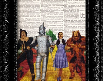 Wizard Of Oz Art Print, Yellow Brick Road, Dorothy, Tin Man, Scarecrow, Lion, Dictionary Print, Upcycled Art
