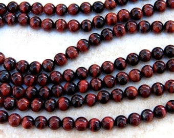 6-6.5mm A Grade Red Tiger Eye Natural Polished Round Gemstone Beads, Half Strand (IND1C26)