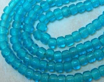 9mm Translucent Aqua Glass Crow Beads, 50 PC (INDOC500)