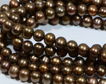 Freshwater Pearl 8.4x7.5mm Brown Gold Pearl Jewelry Making Supplies