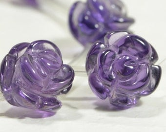 Amethyst 8mm 2 Beads Carved flower Rose Beads Natural Gemstone Bead Supplies Jewelry Making Supplies