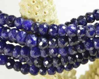 """Natural Sapphire 4x2.8mm 14"""" Strand Faceted Rondelle Beads Natural Gemstone Beads Jewelry Making Supplies"""