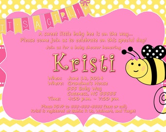 Bumble Bee Baby Girl Shower Invitation Custom Jpeg File For You To Print