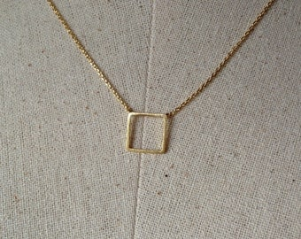 Gold Square Necklace, Dainty Necklace