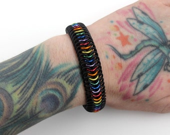 Stretchy chainmail bracelet, rainbow bracelet, gay pride jewelry