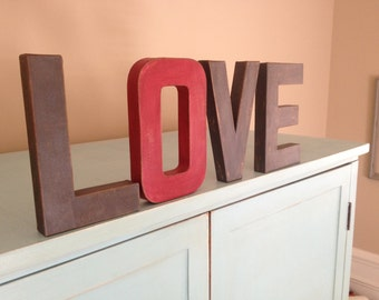 """8"""" Vintage Style Hand Painted Letters.  LOVE letters. Typography. Letters. Faux Aged Metal. Painted Letters.Vintage Letters."""