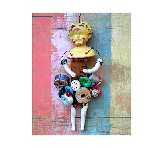 8x10 PRINT Crafty Lady art doll   by Elizabeth Rosen