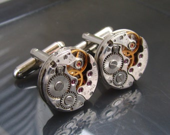 Steampunk Cufflinks with watch movements. Mens Cuff Links Gift for Him Birthday gift Mens gift ideas Silver cufflinks mens gears