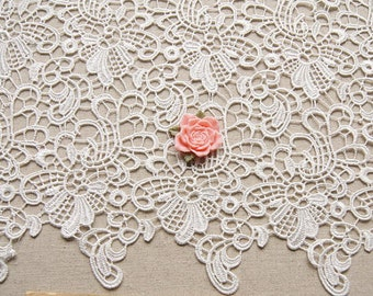 Off white lace fabric, venise lace fabric, Crocheted lace fabric, guipure lace fabric, ivory lace fabric