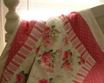 Baby Bedding Crib Stroller Blanket Quilt  cotton organic fleece Pink Roses
