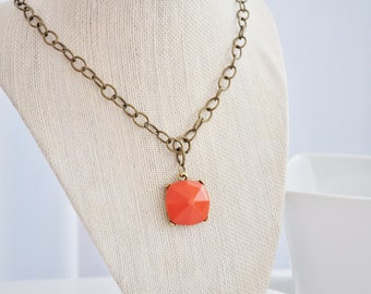 Bold Tangerine Pendant Necklace with Matte Gold Chain