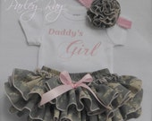 Parley Ray Daddy's Girl Bodysuit & US Army ACU Digital Camouflage Ruffled Baby Bloomers