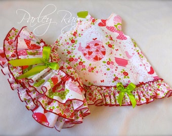 Parley Ray Strawberry Tea Party Cupcake Pinafore Dress with Ruffled Baby Bloomers / Diaper Cover
