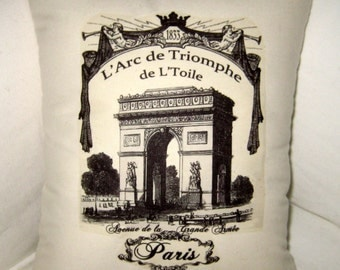Paris Pillow, Arc de Triomphe French Cushion, European Shabby Chic Neutral Home Decor, France, Country Farmhouse