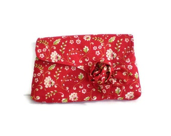 1930's Vintage Inspired Clutch Bag Red White Roses Floral Purse with Detachable Cabbage Rose Brooch 1930s Style