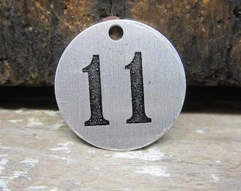 Vintage Metal Tag Number Eleven Vintage Industrial #11 Tag Lucky Number Token ID Locker Address Number Keychain Token Industrial Metalware
