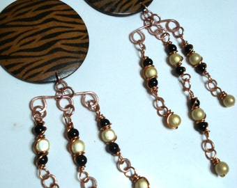 BIG BOLD LONG   wire wrapped copper earrings animal print beaded